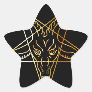 Sigil de oro de Baphomet Pegatina En Forma De Estrella