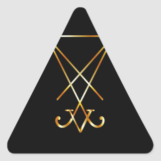 Sigil del símbolo de Lucifer- A del satanism Calcomanías Trianguloes Personalizadas