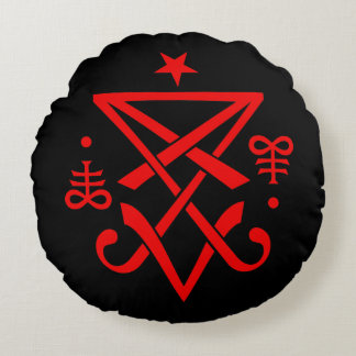 Sigil oculto de Lucifer satánico Cojín Redondo