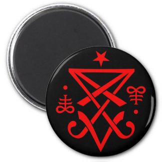 Sigil oculto de Lucifer satánico Imán Redondo 5 Cm