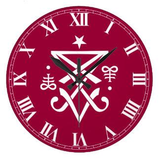 Sigil oculto de Lucifer satánico Reloj Redondo Grande