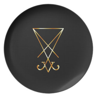 Sigil of Lucifer- A symbol of satanism Dinner Plate