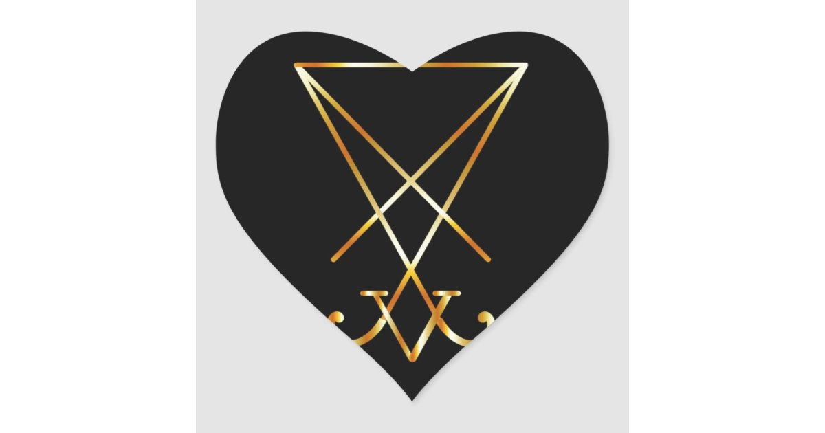 Sigil Of Lucifer A Symbol Of Satanism Heart Sticker Zazzle