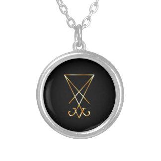 Sigil of Lucifer- A symbol of satanism Round Pendant Necklace
