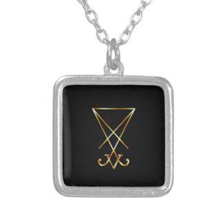 Sigil of Lucifer- A symbol of satanism Square Pendant Necklace