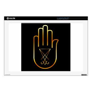 Sigil of Lucifer in a palm Laptop Skin