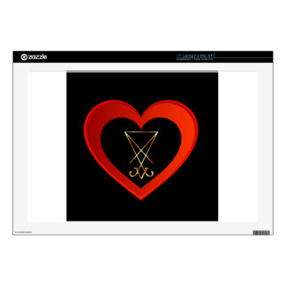 """Sigil of Lucifer within a heart 17"""" Laptop Skins"""