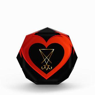 Sigil of Lucifer within a heart Acrylic Award
