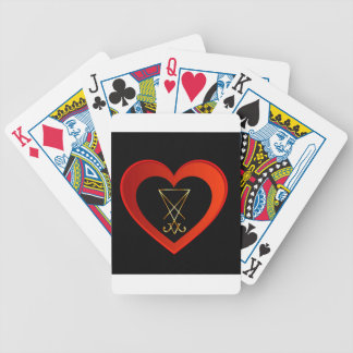 Sigil of Lucifer within a heart Bicycle Playing Cards