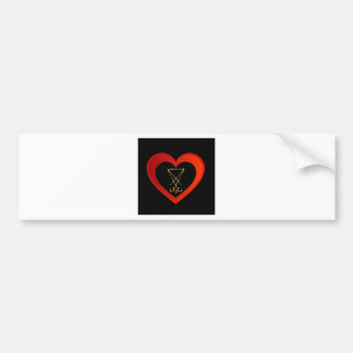 Sigil of Lucifer within a heart Bumper Sticker