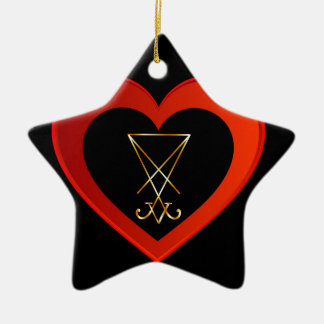 Sigil of Lucifer within a heart Ceramic Ornament