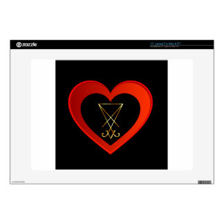 """Sigil of Lucifer within a heart Decal For 15"""" Laptop"""