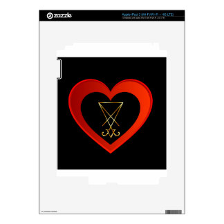 Sigil of Lucifer within a heart Decals For iPad 3