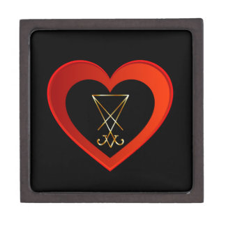 Sigil of Lucifer within a heart Jewelry Box