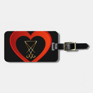 Sigil of Lucifer within a heart Luggage Tag