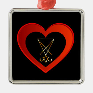 Sigil of Lucifer within a heart Metal Ornament