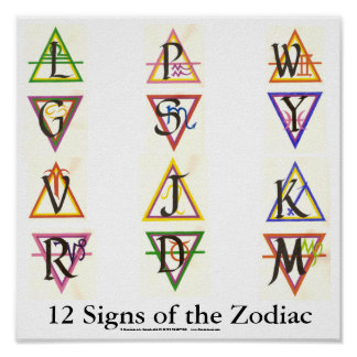 Sigils for the 12 Signs of the Zodiac