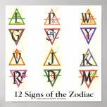 Sigils para las 12 muestras del zodiaco poster