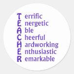 Siglas para los profesores pegatina redonda