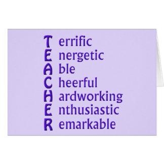Siglas para los profesores tarjeta de felicitación