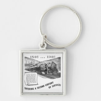 Siglo II del Ferrocarril-UNo del valle de Lehigh d Llavero Cuadrado Plateado