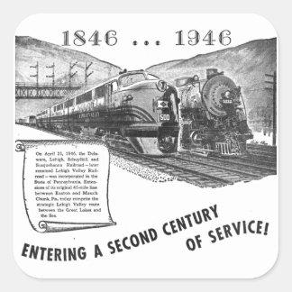 Siglo II del Ferrocarril-UNo del valle de Lehigh Calcomanía Cuadradas Personalizada
