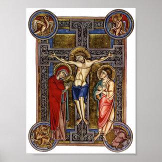 Siglo XIII de Weingarten Missal de la crucifixión Póster