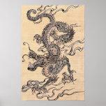 Siglo XIX chino de la escuela del dragón japonés Impresiones