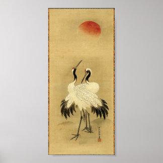 Siglo XVIII japonés de las grúas y de Sun Póster