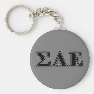 Sigma Alpha Epsilon Black Letters Keychain