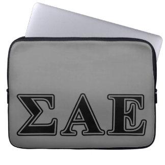 Sigma Alpha Epsilon Black Letters Laptop Sleeves
