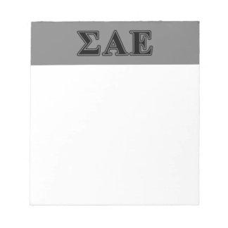 Sigma Alpha Epsilon Black Letters Notepad