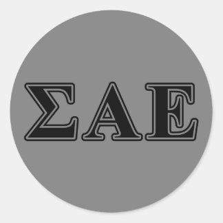 Sigma Alpha Epsilon Black Letters Round Sticker