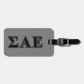 Sigma Alpha Epsilon Black Letters Travel Bag Tags