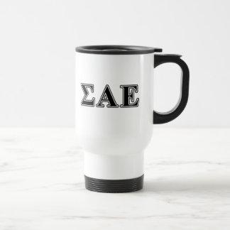 Sigma Alpha Epsilon Black Letters Travel Mug