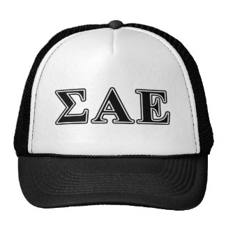 sigma alpha epsilon black letters trucker hat