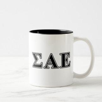 Sigma Alpha Epsilon Black Letters Two-Tone Coffee Mug