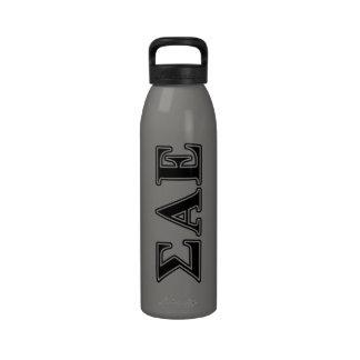 Sigma Alpha Epsilon Black Letters Reusable Water Bottle
