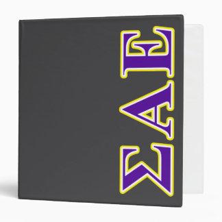 Sigma Alpha Epsilon Purple and Yellow Letters 3 Ring Binder