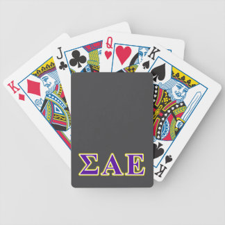 Sigma Alpha Epsilon Purple and Yellow Letters Bicycle Playing Cards