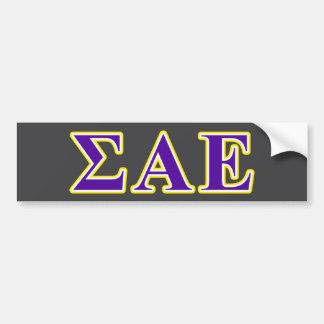 Sigma Alpha Epsilon Purple and Yellow Letters Bumper Sticker