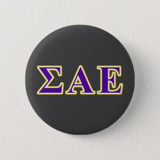 Sigma Alpha Epsilon Purple and Yellow Letters Button