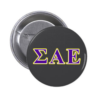 Sigma Alpha Epsilon Purple and Yellow Letters Button