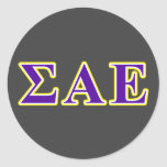 Sigma Alpha Epsilon Purple and Yellow Letters Classic Round Sticker