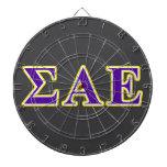 Sigma Alpha Epsilon Purple and Yellow Letters Dart Board