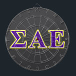 "Sigma Alpha Epsilon Purple and Yellow Letters Dart Board<br><div class=""desc"">Check out these official Sigma Alpha Epsilon designs! Personalize your own Greek merchandise on Zazzle.com! Click the Customize button to insert your own name, class year, or club to make a unique product. Try adding text using various fonts &amp; view a preview of your design! Zazzle&#39;s easy to customize products...</div>"