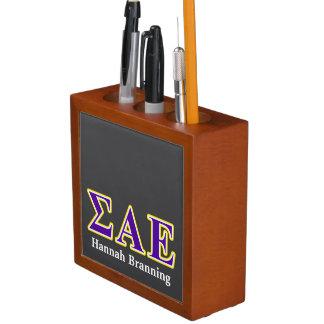 Sigma Alpha Epsilon Purple and Yellow Letters Desk Organizer