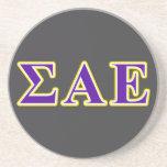 Sigma Alpha Epsilon Purple and Yellow Letters Drink Coaster