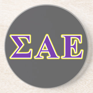 sigma alpha epsilon purple and yellow letters drink coaster