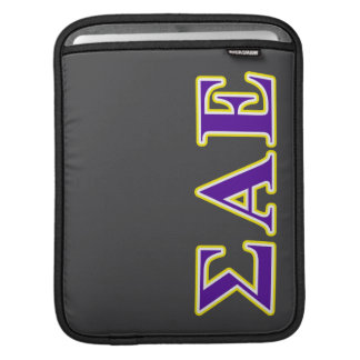 Sigma Alpha Epsilon Purple and Yellow Letters Sleeves For iPads